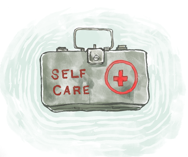 """The image features a metal case, presumably a first aid kit, with the words """"SELF CARE"""" on top."""