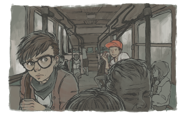 [The image features the author, Sam, glancing nervously over his shoulder while a hostile stranger smirks from across the aisle of the bus.]