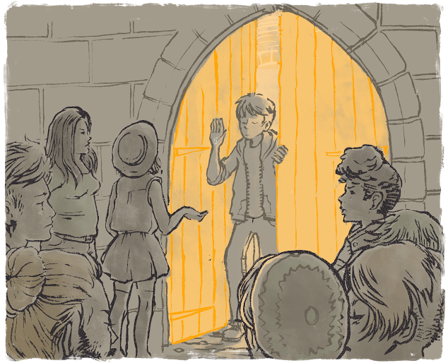 An androgynous person stands at a gate, refusing entry to other trans people who stand, frustrated, outside the gate.
