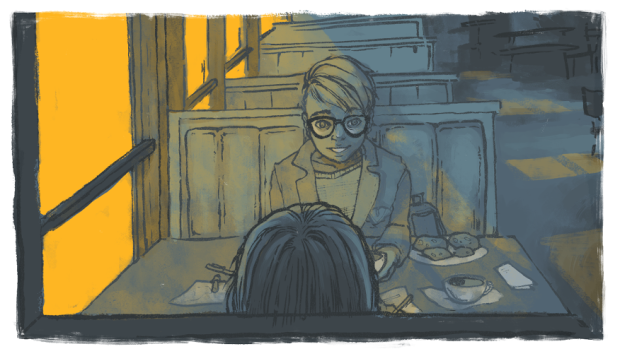 The illustration features the author, Sam, seated in a restaurant booth with a younger version of himself.