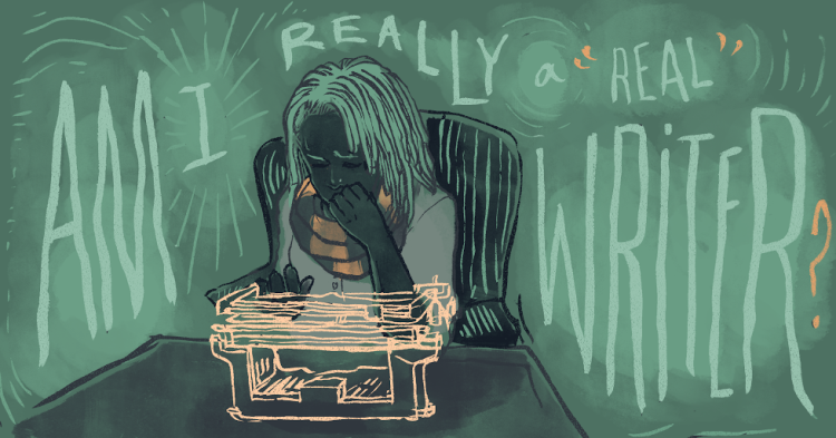 """A queer person of color sits before a typewriter, appearing distressed, pondering the question, """"Am I really a 'real' writer?"""""""