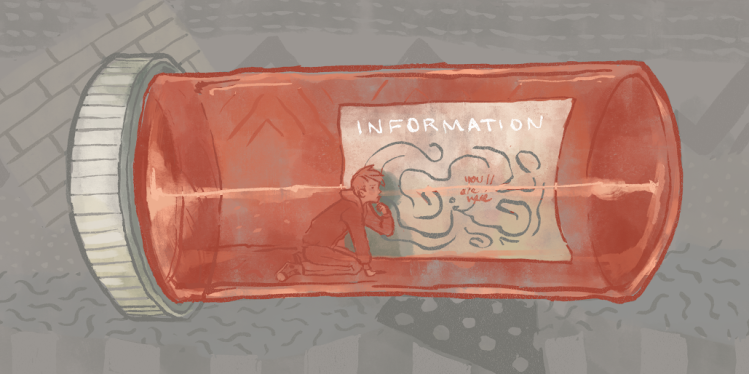 The image features an androgynous person, trapped inside a pill bottle, looking at a map that says