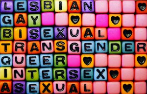 "The image features colorful beads that spell out the words, ""Lesbian, Gay, Bisexual, Transgender, Queer, Intersex, and Asexual."""