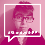 """The image features the author, Sam Dylan Finch, with a pink filter and text that reads, """"#StandwithPP"""""""