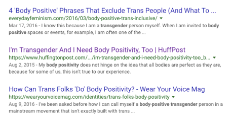 "Three articles that appeared in a Google search for ""transgender body positivity,"" all written by Sam."